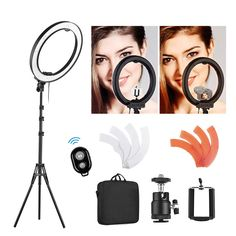 80W Bi-Color 3200k-5600K Small Ring Light Light Stand Soft Tube Phone Holder Ball Head for Make Up Portrait Photography 18-inch Outer Dimmable LED Ring Light Kit Includes