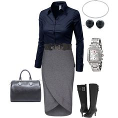 Grays and blues - plus size fashion by laronda-r on Polyvore featuring Doublju, Rockport, Louis Vuitton, Michele, Tiffany & Co. and plussize