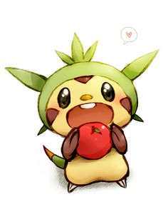 Chespin eating an apple