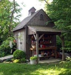 "Country Carpenters Wood Shed - 10 ""Style Setting"" Garden Sheds - Bob Vila Put this on side of shed"