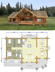 Novedosos diseños de casas de campo, elige por estilo y materiales - Construye Hogar Home Library Design, Home Design Plans, Bungalow House Design, Small House Design, Cabin Homes, Log Homes, Log Home Kits, Exterior Paint Colors For House, Craftsman Style Homes