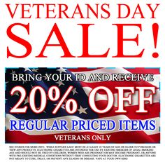 DAY 11 OF OUR COUNTDOWN TO BLACK FRIDAY SALE!!! VETERANS DAY SALE!!!! 20% OFF ALL REGULAR PRICED ITEMS! #vaping #veterans #veteran #veteransday2016 #veteransdaysale #vapes #vapefam #vapor #vapelife #vapingcommunity #clouds #vapeon #vape #sale #ejuice #ejuices #mod #mods #tanks #elqiuids #rda #rba #mechanical #mechanicalmods #vapeporn #vapelyfe