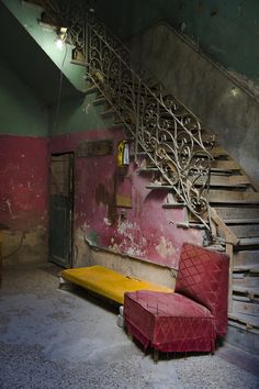 Beautiful Abandoned staircase in Havana, Cuba. photo by Chip Cooper and Nestor Marti. Old Buildings, Abandoned Buildings, Abandoned Places, Abandoned Property, Abandoned Mansions, Stairway To Heaven, Haunted Places, Belle Photo, Stairways