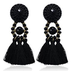 eManco Handcrafted Black Crystal Resin Tassel Statement Big Drop Dangle Stud Long Earrings for Women eManco http://www.amazon.com/dp/B00UXD7SH2/ref=cm_sw_r_pi_dp_U.47wb11ZQXVS