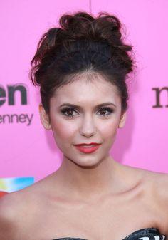 Nina Dobrevs chic high updo hairstyle at the 12th Annual Young Hollywood Awards