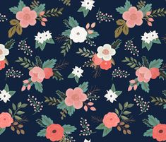 Sweet Bouquets in Navy and Coral fabric by willowlanetextiles on Spoonflower - custom fabric