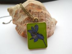 Double sided pendant real larkspur flower real fern by LightPurple