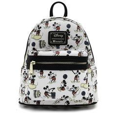 Loungefly x Mickey True Original Imprimir Faux Leather Mini Mochila - Sidecca Pretty Backpacks, Cute Mini Backpacks, Disney Handbags, Disney Purse, Mochila Mickey Mouse, Diaper Bag Backpack, Cute Bags, Casual Bags, Small Bags