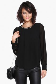 Chain Blouse in Black | Necessary Clothing
