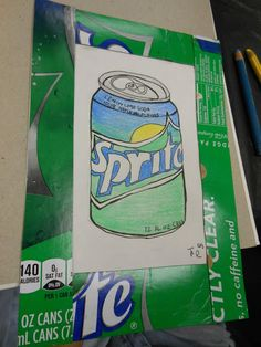 Art to Go: colored pencil. Love the how they framed it with the sprite box!!!!