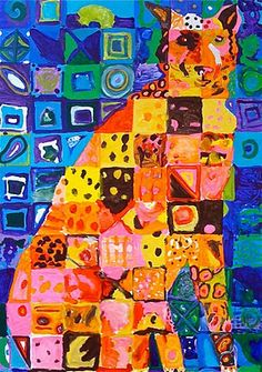 Kids Art Market: ASAP: Chuck Close Pattern Hand draw an object, make a grid on top of it. paint object warm or cool, paint the background the opposite, making patterns inside each square
