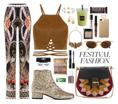 """""""Festival Fashion - 2057"""" by thecaitlinpeters ❤ liked on Polyvore featuring Yves Saint Laurent, Chloé, Etro, Moschino, Boohoo, Ardell, Stila, Christian Dior, Essie and Bare Escentuals"""