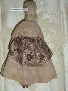 Antique 19th Century Old Rag Doll Dress Handdrawn Face With Hair Primitives photo