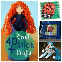 Popsicle Stick Crafts.  I like #6--  the stick people bookmarks.
