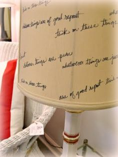 Bible verse memorization: Write bible verses on a lampshade :)