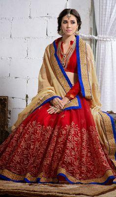 Beige and Red Bhagalpuri Silk Net Half N Half Saree Price: Usa Dollar $104, British UK Pound £61, Euro77, Canada CA$113 , Indian Rs5616.