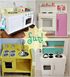 Inspiration for creating your own budget-friendly play kitchen from old furniture.