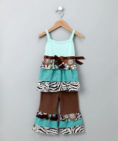 Take a look at this Blue & Brown Safari Rumba Top & Ruffle Pants - Toddler & Girls by AnnLoren on #zulily today!