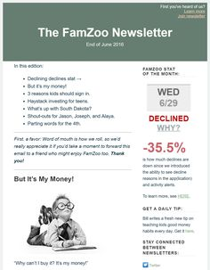End of June 2016 Newsletter: a declining declines stat; a tip for handling your kid's gray area purchases; 3 reasons kids should sign in; teen investing in 30 seconds; a FamZoo cardholder heat map;  shout-outs for Jason, Joseph, and Alaya; and wise money words for the 4th.