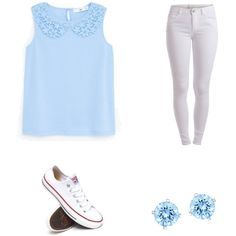 Blue by joigregg on Polyvore featuring polyvore fashion style MANGO Pieces Converse Swarovski