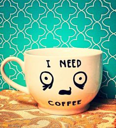 "Coffee Mug: ""I NEED COFFEE"" Funny/ Humor Coffee by WholeWildWorld on Etsy. Gift. Present. Friend. Husband. Wife. Mom. Dad."