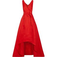 Oscar de la Renta Woven silk wrap gown (€5.665) ❤ liked on Polyvore featuring dresses, gowns, gown, red silk dress, silk gown, short evening gowns, red evening dresses and red silk gown