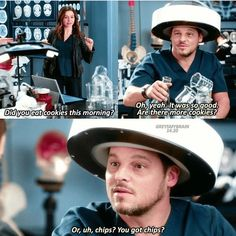 This is episode was hilarious Alex high 😍🤣 Greys Anatomy Episodes, Greys Anatomy Funny, Greys Anatomy Characters, Grays Anatomy Tv, Grey Anatomy Quotes, Tv Quotes, Movie Quotes, Grey's Anatomy Tv Show, Dark And Twisty