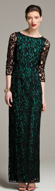 "This CH Carolina Herrera Fall 2013 dress makes me think I should pair black and emerald together more often. So pretty, even if it does sorta remind me of the posters for ""Wicked."" #lace #emerald."