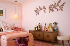 Madeline Weinrib Pink Ikat Cotton Carpet, interior by Traci of Nursery Works and Tamara Honey of House of Honey, via Apartment Therapy.