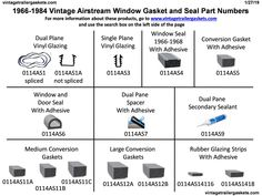 We stock gaskets and seals for vintage Hehr, Philips, and Woodlin windows used on vintage trailers and campers. Vintage Airstream, Vintage Trailers, Window Seal, Adhesive, Restoration, Windows, Vintage Campers Trailers, Vintage Travel Trailers, Window