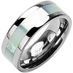 SPIKES Titanium Wide Band Mother of Pearl Inlay MEN'S Ring