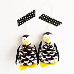 """Cute Pine Cone Penguin Ornament. Turn a pine cone into these adorable arctic animals in no time! Kids can help with painting the """"snow"""" on the cone and cutting felt pieces. They make the sweetest ornament on the ."""