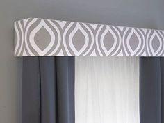 Gray Cornice Board Valance Window Treatment  by DesignerHeadboards, $74.00 by gladys Curtains Living, Teal Curtains, Modern Curtains, Custom Curtains, Curtains With Valance, Valances For Living Room, Gray Valance, Drapery, Modern Fabric