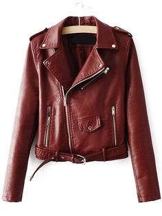 Use Alex savoury Code Burgundy Faux Leather Belted Moto Jacket With ZipperFor Women-romwe