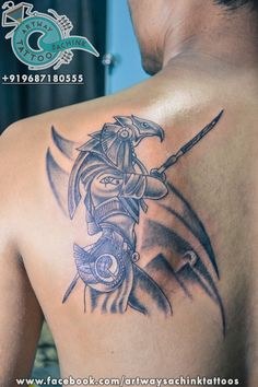 """""""A symbol of protection, Anubis watches over those who have passed on to their afterlife.Anubis in front of a set of pyramids or watching over someone. For placement, consider putting him on your back as a symbol of always having someone watching your back"""" #EgyptianTattoo #EgyptianMythologytattoo #EgyptianGodtattoo #EgyptianGodAnubis #HorusAnubis #Ahmedabad For more info call:+919687180555"""