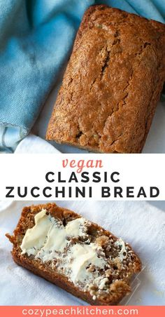 vegan bread This vegan zucchini bread is soft and sweet with a perfectly crisp outer crust. Its super easy to make and uses classic zucchini bread ingredients- no banana or applesauce here! Vegan Foods, Vegan Snacks, Vegan Dishes, Vegan Dessert Recipes, Vegan Sweets, Whole Food Recipes, Vegan Baking Recipes, Vegetarian Desserts, Carb Free