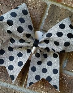 Cheer bow. Cheer. Bow. Glitter polka dot by CurlyNoodleCreations