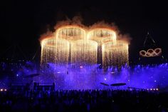 The Olympic rings are formed in the opening ceremony of the Olympic Games
