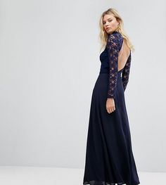 933a8bdaa11 John Zack Tall Over Lace Top Maxi Dress With Open Back