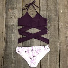 Cupshe Fall Floral Cross Bikini Set
