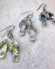 FLIP FLOPS Charm Earrings with Rhinestones by SusanHeleneDesigns, $12.00