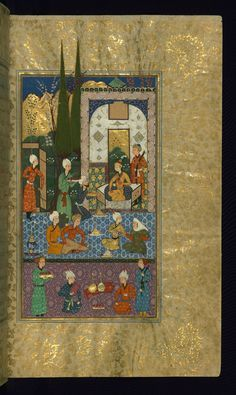 An old woman speaking with a confidant of King Jamshīd - Makhzān al-asrār - At a court gathering, an old woman speaks with a confidant of King Jamshīd.