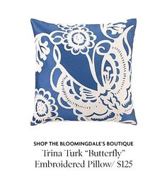 """Trina Turk """"Butterfly"""" Embroidered Pillow - whoa, that's expensive, but I'll file it away for inspiration to make one!"""