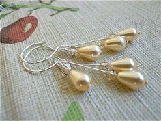 Bridesmaids Pearl  Teardrop Earrings and matching by JoJosgems