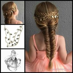Two four strand braids and a messy fishtailbraid with a beautiful hair chain from the webshop www. Childrens Hairstyles, Kids Braided Hairstyles, Little Girl Hairstyles, Wedding Hairstyles, Cool Hairstyles, Kids Hairstyle, Natural Hair Styles, Short Hair Styles, Trend Fashion