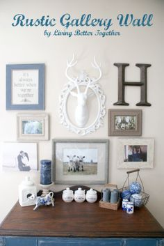 Rustic Gallery Wall using Blues and Neutrals for a French Country Feel. www.livingbettertogether.com