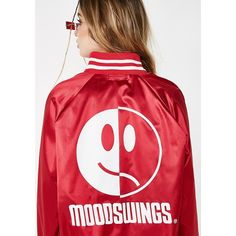 Petals and Peacocks Mood Swings Faces Jacket ($80) ❤ liked on Polyvore featuring outerwear, jackets, red letterman jacket, red varsity jacket, varsity-style bomber jacket, snap jacket and satin varsity jacket