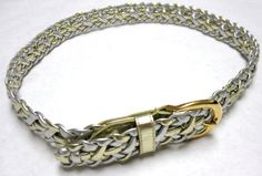Vintage Silver Gold Braided Belt Size M Med by sweetie2sweetie, $14.99