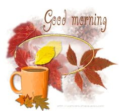 Happy monday morning greetings happy day free good morning good morning coffee animated autumn leaves fall gif good morning fall greeting autumn greeting m4hsunfo