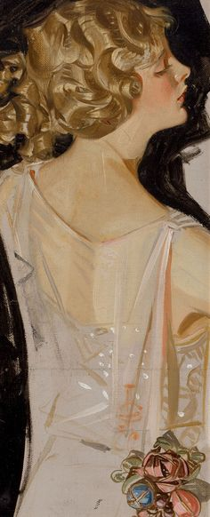 JOSEPH CHRISTIAN LEYENDECKERProfile of a Young Woman Oil on canvas board 13 x 5.25 in.